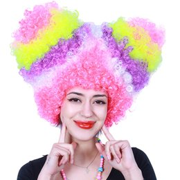 Wholesale Wholesale Colorful Hood - DHL free Colorful explosion dyed cosplay wigs costume party hair wigs Halloween Christmas dress up funny party hood cheap wigs wholesale