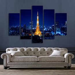 Wholesale Panel Artwork - 5 Panel Wall Art Tokyo Tower Night Landscape Painting Canvas Prints Artwork Picture for Living Room Unframed