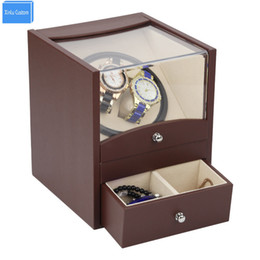 Wholesale Automatic Watch Mechanism - Wholesale- Automatic watch winder in watch box 2 motor box for watches mechanism cases with drawer storage send by DHL Shipping Fast