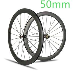 Wholesale Carbon Fiber Rear Wheel - AWST 700C Road Bike Carbon Wheels 50mm Clincher Tubular full carbon Bicycle Wheelset V brake racing bike carbon fiber wheelset