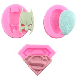 Wholesale Silicone Molds Faces - 3pcs 3D Silicone Molds Superman Spiderman Batman Sugarcraft Fondant Chocolate Mold Face Silicone Cake Mold Cake Decorating Tools