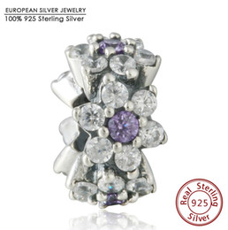 Wholesale Fine Cz Jewelry - Spring Forget me not Purple Clear Cz Spacer Charm Beads Fits Pandora Bracelets 925 Sterling Silver Stopper Bead DIY Fine Jewelry