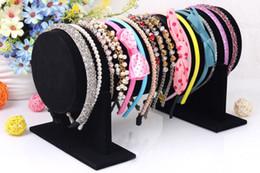 Wholesale Stands Display Headbands - Wholesale High Quality Velvet Bracelet Watch Necklace Hair Hoop Headband Display Stand Holder T-Bar 30cm L