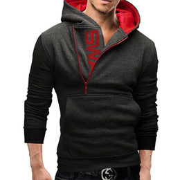 Wholesale Sweater Zippers Sleeves - Men's Clothing Letters of bump color man fleece side zipper Hoodies & Sweatshirts Jacket Sweater Assassins creed Size M-6XL