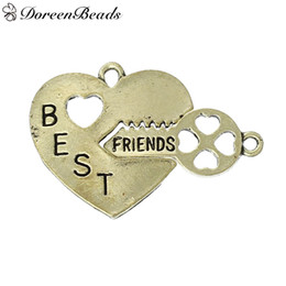 "Wholesale Heart Keys Bronze - Charms Broken Heart Key Bronze Friendship BFF Message""BEST FRIENDS""Carved 25mm x25mm 25mm x11mm ,10 Sets 2016 new Free shipping jewelry maki"