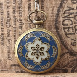 Wholesale Palace Glass - Hot Sell Antique Retro Bronze Palace Flower Skeleton Mechanical Hand Wind Pocket Watch Flip Collection Gift Pocket Watches