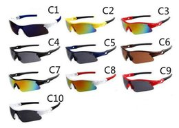 Wholesale Hot Colours - hot outdoor eyewear Only SUN glasses 10 colors sunglasses men Bicycle Glass NICE sports sunglasses Dazzle colour glasses A+++ free shipping