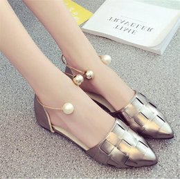 Wholesale Latex Female Suit - Kukucos Sandals Female Summer Shallow Mouth Pearl Buckle Flat Shoes Vertical Flat Students Female Shoes