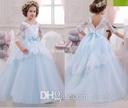 Wholesale Multicolor Tutus - Vintage Flower Girl Dresses with Lace Sleeves Ball Gown Sky Blue Tutu 2017 Cheap Bow Beaded Princess Girls Pageant Dress Kids Birthday Gowns