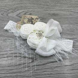 Wholesale Satin Flower Lace Headband - Handband Satin Flower Matching Sparking Rhinestone Pearls on Lace Headband Baby Headband Vintage Headband Flowergirl Hair Accessory