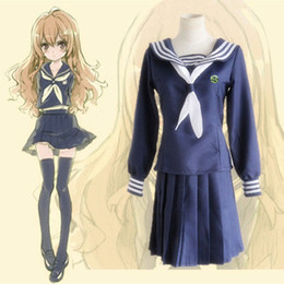 Wholesale Toradora Cosplay Costume - Japanese Anime Toradora ! TIGER x DRAGON ! Cosplay Aisaka Taiga for Girls Costume Top + Skirt +Tie per set