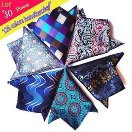Wholesale Vintage Wedding Hankies - (30Pcs  Lot ) Wholesale 2016 New Vintage Mens 100% Silk Luxury Pocket Square Paisley Check Handkerchief Wedding Party Hanky