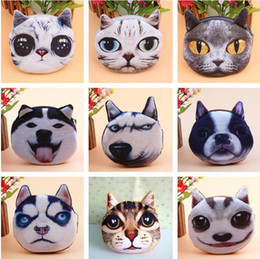 Wholesale Hobo Wholesalers - NEW Fashion High quality Super lovely 3D cat dog Siberian husky coin purse holder wallet hasp small gifts bag clutch handbag 351