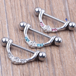 Wholesale body piercing nipple - Nipple ring body piercing fashion jewelry 14G 316L surgical steel bar Nickel-free NEW design mix 3 color for woman