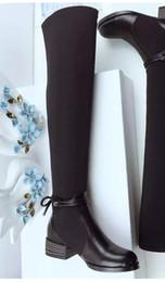Wholesale genuine cowboy boots - high quality~u672 34 40 genuine leather stretch thigh boots d black luxury designer runway fashion brand