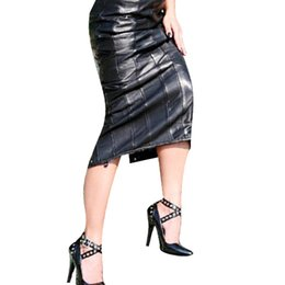 Wholesale Pencil Novelty Back - Black Women Fashion Pencil Midi Skirt Hot Sale Sexy Faux Leather Skirts Back Lace-Up Erotic Night Club Bandage Skirt W1126