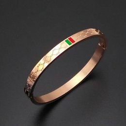 Wholesale Gold Color Rings - Luxury Rose Gold Bangle Brand Color Stripe Titanium Steel Bangle Bracelet With Logo Fashion Brand Covered Button Bracelet Gift