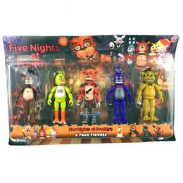 Wholesale Freddy Doll - Five Nights At Freddy's fnaf Freddys 14cm figure With Lighting PVC Action Figures Toys Foxy Freddy Fazbear Bear Doll 5pcs set