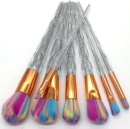 Wholesale plastic eyeliner - Transparent Diamond Crystal Makeup Brushes Makeup Brush Set Make Up Tools Eyebrow Eyeliner Powder Foundation 7pcs Set lot