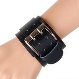 Wholesale Wholesale Adjustable Leather Bracelets Buckle - Wholesale- Unisex PU Leather Wide Cuff Bracelet Belt Double Buckle Wristband Adjustable