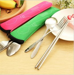 Wholesale Stainless Steel Cutlery Set Wholesale - Stainless Steel Dinnerware Fork Spoon Chopstick Sets Camping Travel Cutlery Portable Outdoor Tableware Bag Picnic For Adult Kids 01