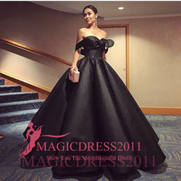 Wholesale Mermaid Satin Ball Gown - Middle East Saudi Black Evening Prom Dresses 2016 Ball Gown Off-Shoulder Rhinestones Crystal Ruffled Long Celebrity Formal Gown