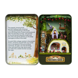 Wholesale Miniature House Lighting - Wholesale-Fantastic Cottage Box theatre DIY Mini Doll house 3D Miniature Colored Light+Metal box+Dolls+Wooden support+Furniture Decoration