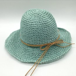 Wholesale Large Leather Hat - Wholesale-2016 New Fashion Sun Straw Hats Summer Visor Hat For Women Ladies Beach Cover Up Large Brim With Leather Ribbons BowKnot