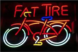 Wholesale Lighted Tire Signs - Brand New Red Fat Tire Glass Neon Sign Beer light