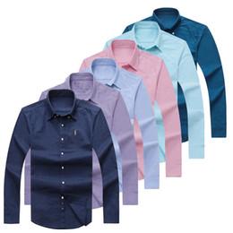 Wholesale polo shirt long sleeve men - ePacket free shipping Polo Oxford Shirt 100% cotton long sleeve Dress shirt men slim fit Casual Shirt Eur Size S-2XL