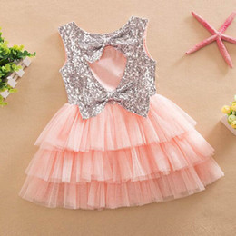 Wholesale Wholesale Ruffled Wedding Dresses - Baby Girls Dresses for Summer Girls Knee-Length Dresses Kids Wedding Girls Clothing Set Fashion Baby Clothes