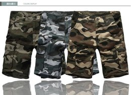 Wholesale Military Overall Uniform - 2016 new men's casual pants loose multi-pocket camouflage overalls straight new fashion beach shorts uniform pants XL