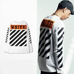 Wholesale Camp Tshirt - High Quality kanye west t-shirt Mens Off White T Shirt Hip Hop Long Sleeve t-shirts Off-White Tshirt For Men US EUR SIZE S-2XL