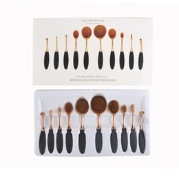 Wholesale Tooth Shapes - Rose Gold Brushes 10pcs set Tooth Shape Oval Makeup Brush Set Multipurpose Makeup Brush Powder Eyeshadow Blush with Retail Box 2805029