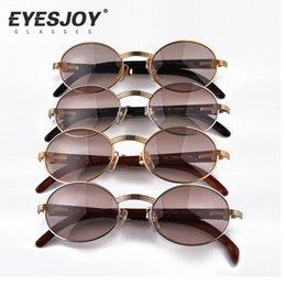 Wholesale Brown Hot - Metal Frame Carved Designs Wooden Sunglasses Brands Glasses Hot Selling Full Rim Retro Glasses Sunglasses for Women Men CT53-22