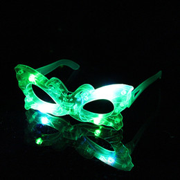 Wholesale Projection Frame - Masquerade Halloween decorations LED flash light transparent glasses glasses frame a variety of mixed hair funny