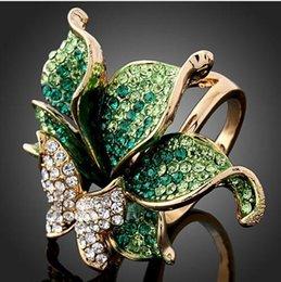 Papillons d'imitation en Ligne-Imitation Diamant Plaqué Or 18K Partie Bijoux Élégant De Mode Cristal Papillon Forme De Mariage Anneaux Pour Womee Anneaux Bijoux Libère Expédition