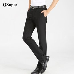 Wholesale wedding full suit men - Wholesale- QSuper Black Business Men Straight Casual Suit Pants Trousers Slim Fit Formal Wedding Pants