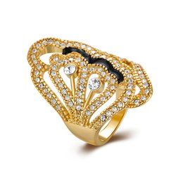 Wholesale Yellow Topaz Rings White Gold - Beautiful Ladies Ring Yellow Gold Plated Women Jewelry White Topaz Crystal Adorable Free Shipping Size 8 GPR293