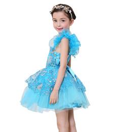 Vestidos de tutú verde online-Envío gratis niños niñas lentejuelas verde / azul tutú danza latina flores bordado vestido de lujo de baile de hadas etapa rendimiento vestido