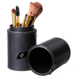 Wholesale Leather Traveling Bags - Black Leather Brush Empty Holder Makeup Artist Bag Match Your Own Brushes for Traveling MAS_220