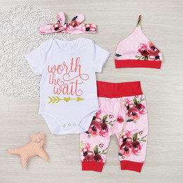 Wholesale Shorts Band Flowers - 2017 New baby INS Flower Rompers Girls Cotton Flowers Romper Onesie +Hair band+PP pants+cap 4pcs sets baby Girls Clothes 0-3years A7312