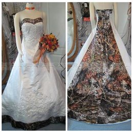 Wholesale Online Custom Embroidery - Sweetheart Camo A-Line Wedding Dresses 2017 Beading Lace Up Back Bridal Gowns Chapel Train Custom Online Vestidos 2017 Vintage Embroidery