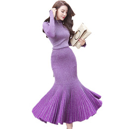 Wholesale Turtle Neck Mermaid Dresses - Autumn Winter New style Fashion Women's sweater Dress Knitdress Sexy party Dress Long sleeve Fashion beautiful skirt Dress Suit