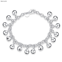 Wholesale Asian Bells - Bell charm bracelet plated 925 sterling silver jewelry fashion lovely birthday gift woman jingling bangles hot Free shipping