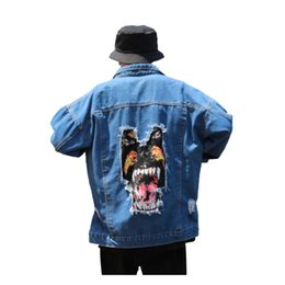 Wholesale Xl Dog Clothes - Men's Jackets 2018 Autumn Winter Vintage Men's Clothing Denim Jacket Dog head Print frayed broken hole High Street Hip Hop Outwear Cowboy Co