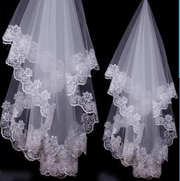 Wholesale White Lace Wedding Veils Shoulder - 2016 Bride wedding veil about 1 meter lace two wedding veil Bridal Veils