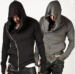 Wholesale Men Diagonal Hoodie - Wholesale-New Stylish Unbeatable Arm Warmer Diagonal ZIP-UP Mens Assassin Creed Hoodie Fashion Design For Men Sportswear Sweatshirt