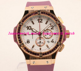 Wholesale Pink Bangs - Hot sale! Fashion WATCH Full feature New sport High quality Limited Gems bezel gold bang men's Wristwatch Quartz pink rubber strap