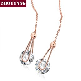 Wholesale Rose Chandeliers - Top Quality ZYE683 Cubic Zirconia Rose Gold Color Fashion Chain Earrings Jewelry For Women Austrian Crystal Wholesale